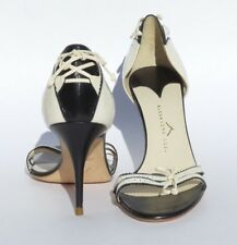 ALEXANDRA NEEL Ivory Cream Black Leather Open Toe Corset Bow d'Orsay Pumps 40