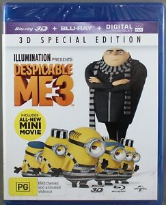 """DESPICABLE ME 3 (BLU-RAY, 2017, 2-DISC SET 3D + 2D) BRAND NEW/SEALED """"REGION B"""""""