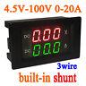 4.50-100V 20A DC Digital LED Voltmeter Ammeter Amp Volt Meter 9V 12V 24V 96V CAR