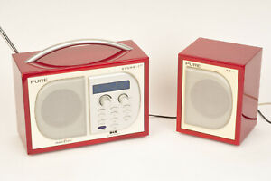 DAB Pure Evoke 1-XT DAB Radio in RED! with Matching XT-1 Auxiliary Speaker