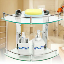 2 Tier Bathroom Corner Glass Shower Shelf Wall Mounted Caddy Organizer d