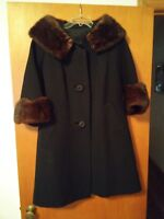 015 Women's Vintage Fur Collar and Cuffs Winter Coat Black Union Made