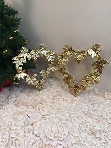 2 Home interiors' gold metal  Brass heart shaped oak leaves plaques Lot