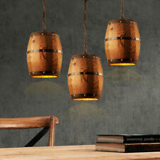 Hanging Wood Wine Barrel Fixture Ceiling Pendant Lamp Light Bar Cafe Bar Light