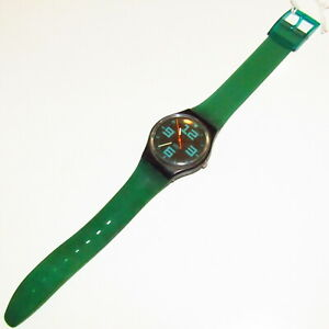 "Vintage SWATCH Watch ""Commander"" 1987 GB115 STRAP SWAP Green Black needs Battery"