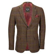 Mens Herringbone Tweed Check Blazer Vintage Tailored Fit Smart DESIGNER Jacket Chest UK 42 EU 52 Tan Brown