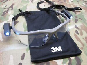 3M SAFETY GLASSES w. LED FLASHLIGHTS ANTI-FOG PROTECTIVE EYEWEAR Z87 CLEAR LENS