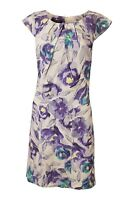LAURA ASHLEY Vintage Purple Floral Print Cap Sleeved Shift Dress (UK 8)