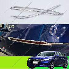 Pair Chrome ABS Rear Bumper Fog Light Lamp Cover Trim For Honda Accord 2018 2020