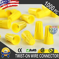 (1000) Yellow Twist-On Wire GARD Connector Conical nuts 18-12 Gauge Barrel Screw
