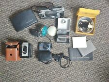 LOT Vtg CAMERAS + Accessories Polaroid Kodak Fuji Argus Cases Flashes Lens Mount