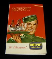FORT PITT/OLD SHAY BEER & ALE Original Vintage MENU COVER Cone Top PITTSBURGH