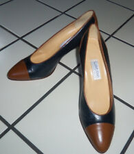 Nos Vtg Calvin Klein Cap Toe Spectator Pumps Shoes All Leather Navy & Brown 8 M