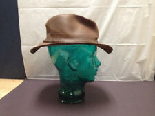 Lagowarsiuo Argentina Brown Leather Fedora Hat  (med-lg) RARE