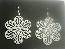 "TIBETAN SILVER ""SMALL(2CM) WHITE ENAMEL FLOWER"" EARRINGS ON SILVER PLATED HOOKS"