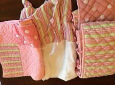 Land Of Nod Girls Pink Striped Crib Or Toddler Bedding Quilt Skirt Bumper