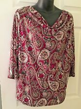 DRESSBARN 3/4 SLEEVE SPARKLE TOP DEEP ROSE AND SILVER SIZE PXL
