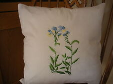 PAIR EMBROIDERED FORGET ME NOT CUSHION COVERS COTTON 40 X 40 CM