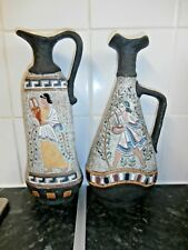 """Pair Of Vintage 1960's CUCCHI Italy Pottery 11"""" CARAFE PITCHERS"""