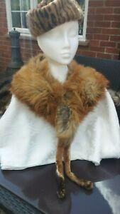 Vtg Original 40s Glamorous Plush Red Cream Canadian Fox Fur Stole & Feet.