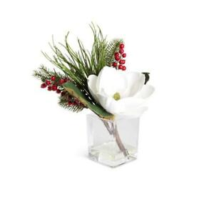 13.5 Inch White Faux Magnolia Mixed With Berries and Pine In Square Glass Vase