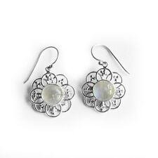 Solid 925 Sterling Silver Natural Rainbow Moonstone Round Shape Earrings Bali