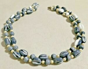 "VINTAGE 1960s JAPANESE Gray GLASS BEADS 16"" Necklace NOS -- 4044"