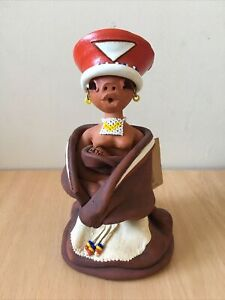 Tribal Africa Knysna Handmade Zulu Woman Figure Clay Bead South Africa