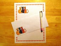 Cartoon Cats Stationery 12 Sheets 6 Envelopes - Lined Stationary