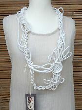 * Zuza Bart * Design Lino incredibile BELLISSIMA APPLIQUE Collo Sciarpa Collana * BIANCO *