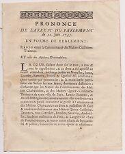 Maître CUISINIER Chaircuitier.Droit Faire Boudin, Andouille, LangueFourrée.1735