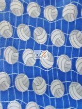 "VOLLEYBALL PRINT POLAR FLEECE FABRIC - White Net Blue - 60"" WIDTH BY YARD 964"