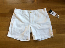 NWT LAUREN Ralph Lauren Women's White Flat Front Shorts 100% Cotton 2