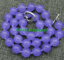 Genuine 12mm Lavender Jade Beads Gemstone Necklace Tibetan Silver Clasp 18''