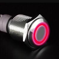 NEU 19mm 12V Auto Schalter Drucktaster Taster Druckschalter Beleuchtet Rot