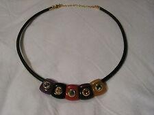 Joan Rivers Color Oro, pelle, Lucite, Cristalli Collana