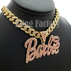 Women Hip Hop Silver Plated Iced Barbie Pendant /& 4mm 18 Franco Chain Fashion Necklace