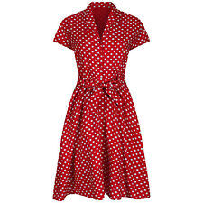 Vintage Retro 1940's Landgirl Red Polka Dot Belted Shirt Dress BNWT UK 8