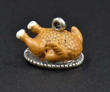 Vintage Thanksgiving Turkey on Platter Sterling Silver Enamel Charm Dressed 4g
