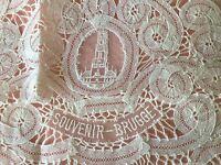 Vintage Belgium lace Souvenir Bruges doily dresser or table mat Brugge Cathedral