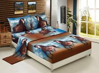 HIG 3D Sheet set -4 Pieces Running Texas Wild Horse Printed Sheet Sets