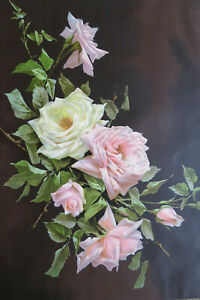ANTIQUE ROSES CHROMOLITHOGRAPH - The Lamaroue Therese Levet