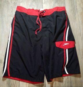 "Speedo Mens L Swimming Trunks Black Red White Board Shorts Waist to 36"" Summer"