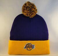 Los Angeles Lakers NBA Cuffed Knit Pom Hat Purple Gold