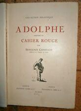 Adolphe précédé du cahier rouge Benjamin Constant Edition 1920