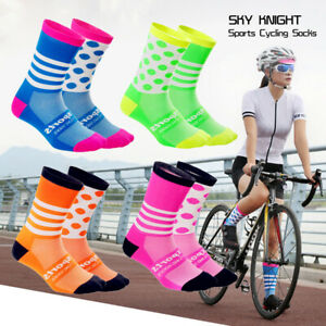 Womens Mens Cycling Socks Colorful Bicycle Sports Breathable Compression Socks