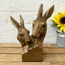 Vintage Bronze Effect Resin Hare Rabbit Pair Bust Statue Sculpture Ornament Gift
