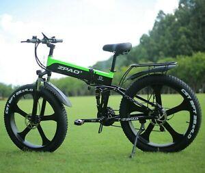 "1000W Beach Mountain Snow Bicycle 26""×4.0 FAT Tire 48v Foldable E Bike Adults"