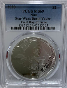 2020 Niue Star Wars Darth Vader PCGS MS69 First Day Of Issue 42583265