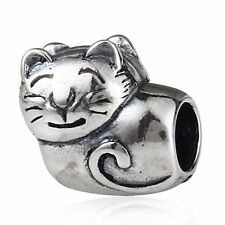 NEW 925 Sterling Silver European Bracelet Charm Bead Cat Kitty Kitten